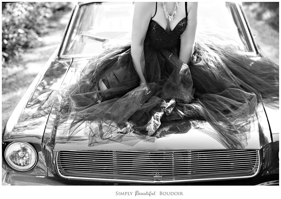 Boudoir Car Shoot_Vintage Mustang_Tulle Skirt 7